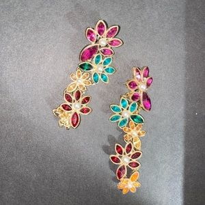 Colorful (multicolored) floral earrings